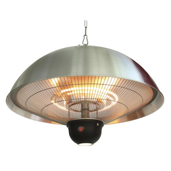 Terrassevarmer hængende sølv med LED-lys
