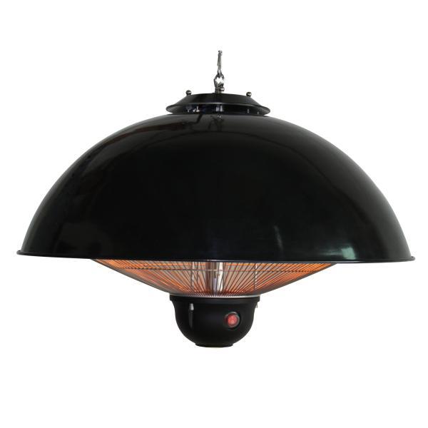 Terrassevarmer hængende sort med LED-lys