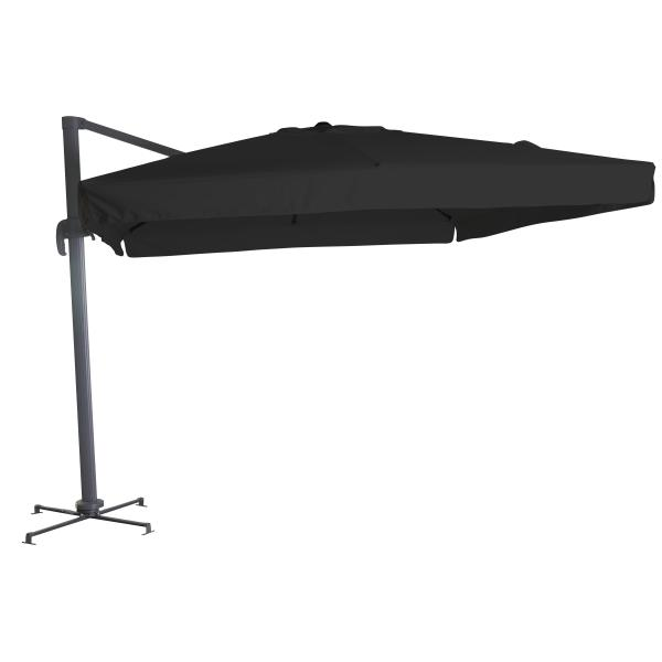 Firkantet hængeparasol sort 3M parasol
