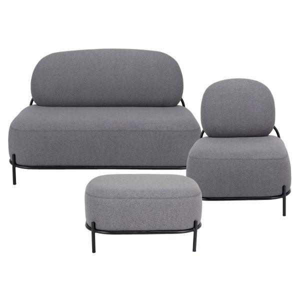 SOHO 1+2 pers. sofa + puf grå