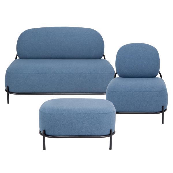 SOHO 1+2 pers. sofa +  puf blå