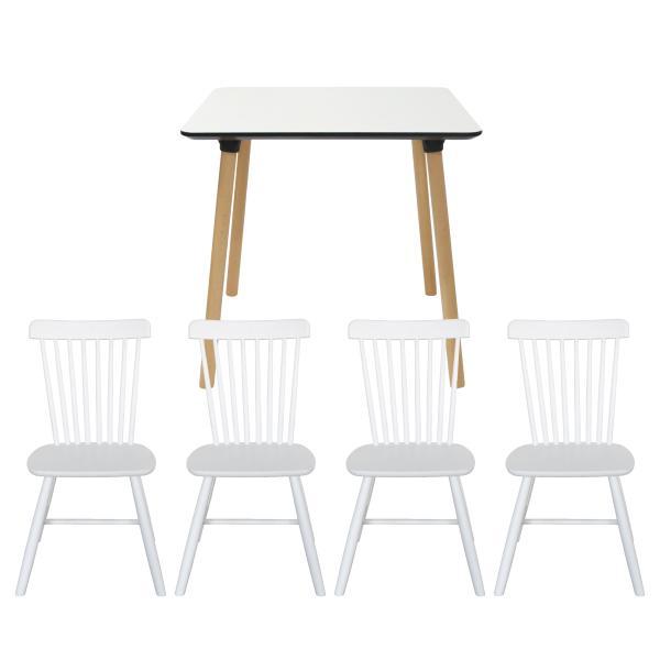 Enrique spisebordssæt 80x80cm hvid