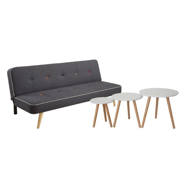 Chicago sofa + Barcelona sofabordssæt mørkegrå/hvid