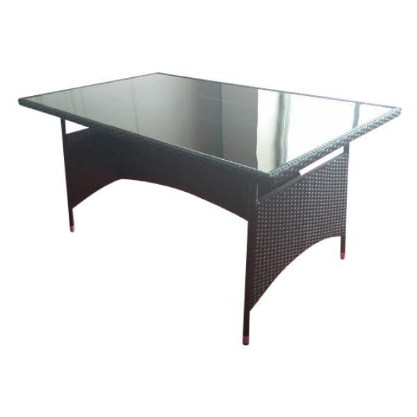 Spisebord i polyrattan, sort