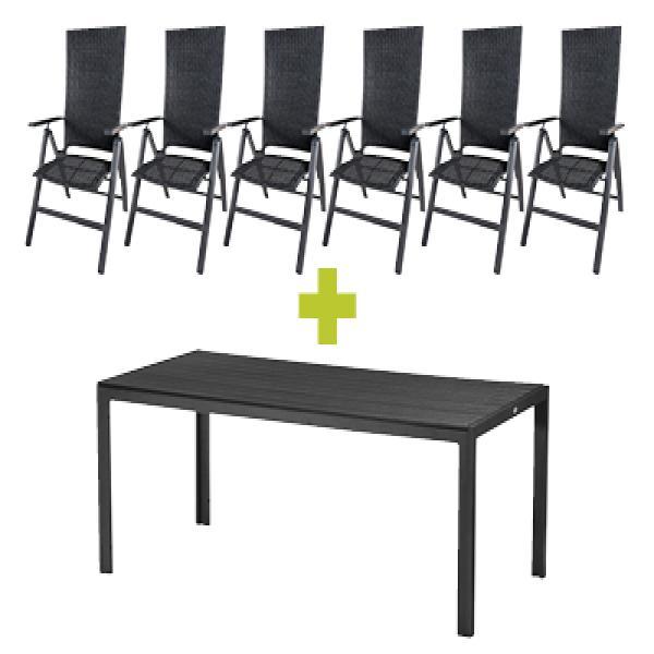 Havemøbelsæt med bord og 6 Sallinge havestole